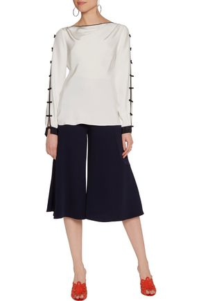 OSCAR DE LA RENTA Bow-embellished silk top