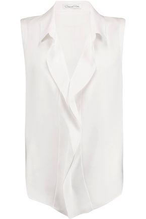 OSCAR DE LA RENTA Ruffled silk crepe de chine blouse