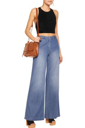 ALICE + OLIVIA Tru cropped stretch-suede top