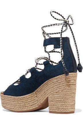 TORY BURCH Positano suede platform espadrille sandals