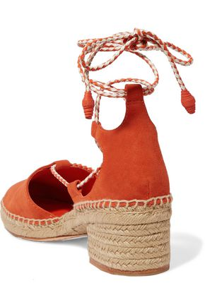 TORY BURCH Lace-up suede espadrille sandals