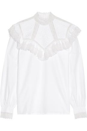 VILSHENKO Suzy ruffled lace-paneled cotton-faille blouse