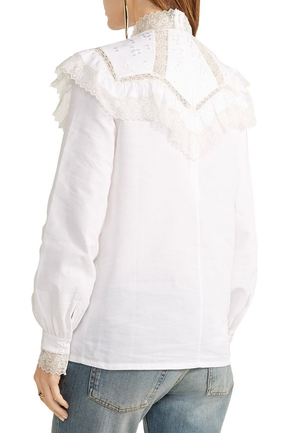 Suzy ruffled lace-paneled cotton-faille blouse | VILSHENKO | Sale up to 70%  off | THE OUTNET