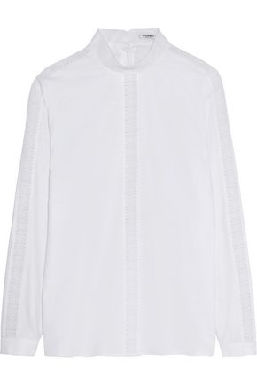 VILSHENKO Lace-paneled cotton-piqué blouse