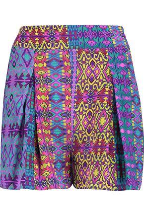 MATTHEW WILLIAMSON Pleated printed silk shorts