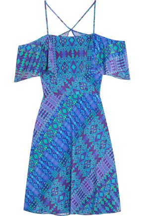 MATTHEW WILLIAMSON Off-the-shoulder printed silk crepe de chine mini dress