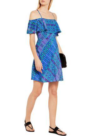 MATTHEW WILLIAMSON Off-the-shoulder printed silk crepe de chine mini dress
