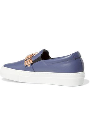 JUST CAVALLI Embellished leather slip-on sneakers