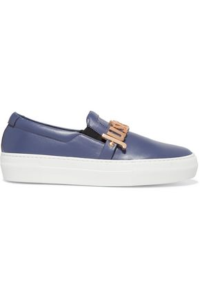 JUST CAVALLI Embellished leather slip-on sneakers