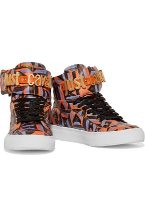 JUST CAVALLI Printed leather high-top sneakers