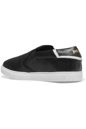 JUST CAVALLI Textured-leather slip-on sneakers