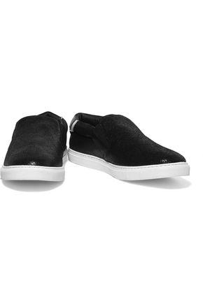 JUST CAVALLI Textured-leather slip-on sneakers