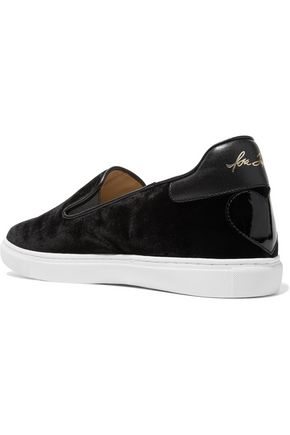 ISA TAPIA Slater C velvet and leather slip-on sneakers