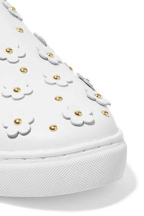 ISA TAPIA Taylor embellished leather slip-on sneakers