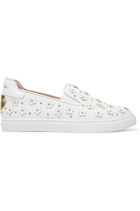 Isa Tapia  WOMAN TAYLOR EMBELLISHED LEATHER SLIP-ON SNEAKERS WHITE
