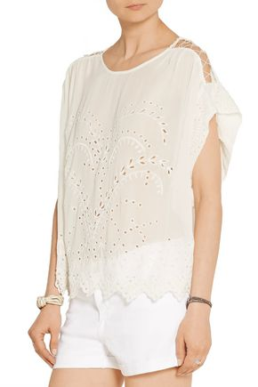 IRO Fiore oversized broderie anglaise voile top