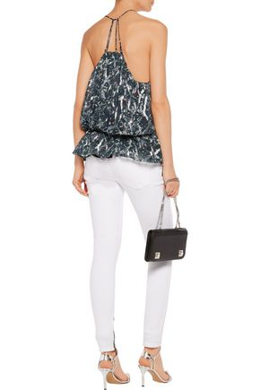 IRO Elsa gathered metallic printed silk-blend top