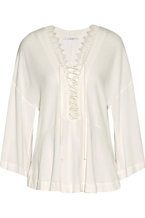 IRO Emilda lace-up lace-trimmed crepe top