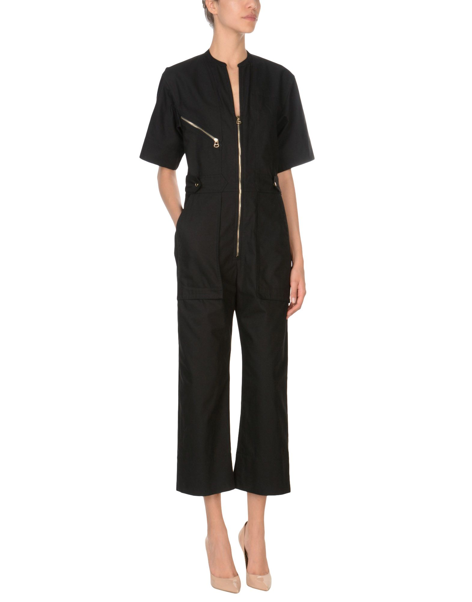 ISABEL MARANT Jumpsuits. Plain weave No appliqués Basic solid color V-neck Short sleeves Multipockets Zip Front closure Large sized. 100% Cotton