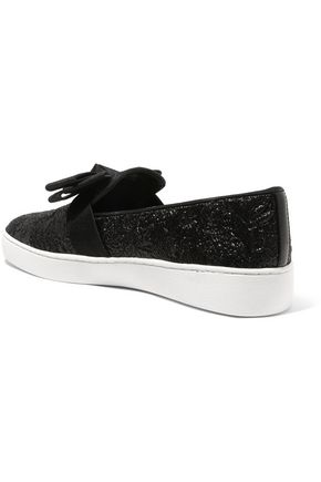 MICHAEL KORS COLLECTION Val bow-embellished metallic cloqué slip-on sneakers