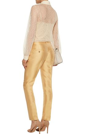 MICHAEL KORS COLLECTION Crepe-trimmed Chantilly lace blouse