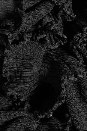 BALMAIN Ruffled stretch-knit top