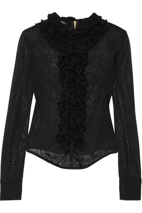 BALMAIN Ruffled stretch-knit top