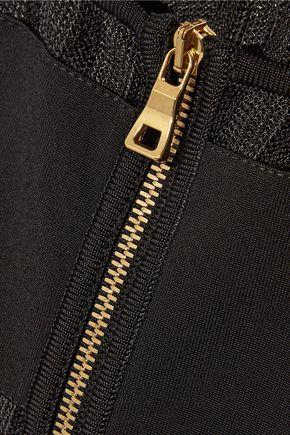BALMAIN Striped tulle-paneled stretch-jersey bodysuit