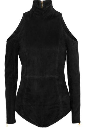 BALMAIN Cold-shoulder suede bodysuit