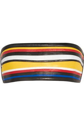 BALMAIN Color-block leather bandeau bra top