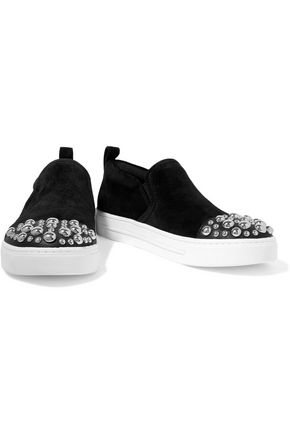 MARC BY MARC JACOBS Leather-trimmed studded suede slip-on sneakers