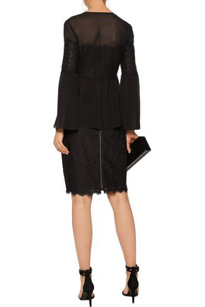 RACHEL ZOE Cotton-blend corded lace-paneled silk crepe de chine blouse