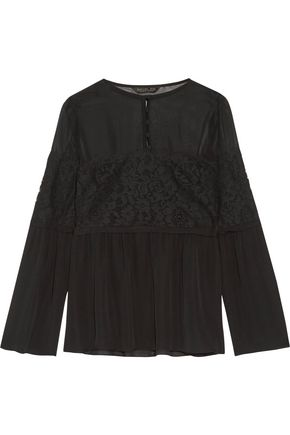 RACHEL ZOE Corded lace-paneled silk crepe de chine blouse