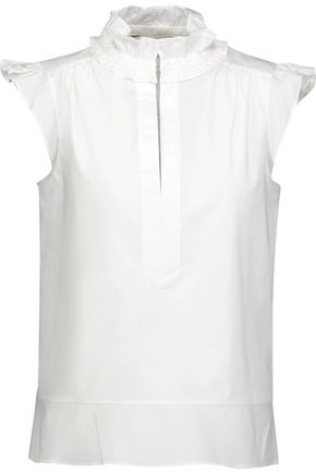 RACHEL ZOE Brook ruffle-trimmed cotton-blend poplin top