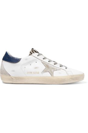 b28f6efe79a8 GOLDEN GOOSE DELUXE BRAND Super Star distressed suede-paneled leather  sneakers ...