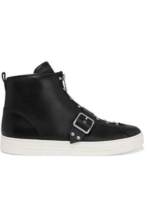 MARC BY MARC JACOBS Varick studded glossed-leather high-top sneakers