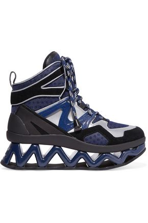 a494a8a7d07 MARC BY MARC JACOBS Ninja Wave suede-trimmed mesh and leather high-top  sneakers ...
