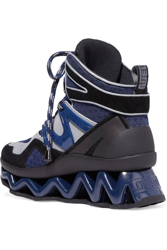 cfd3de9b6f6 Ninja Wave suede-trimmed mesh and leather high-top sneakers