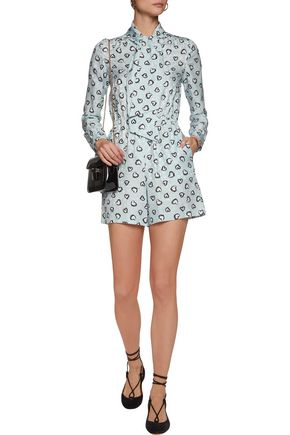 VANESSA SEWARD Printed silk-jacquard playsuit