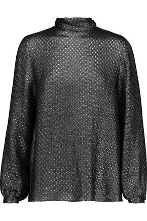VANESSA SEWARD Chini polka-dot silk-blend lamé turtleneck top