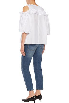 IRIS AND INK Shannon ruffled cold-shoulder cotton-poplin top