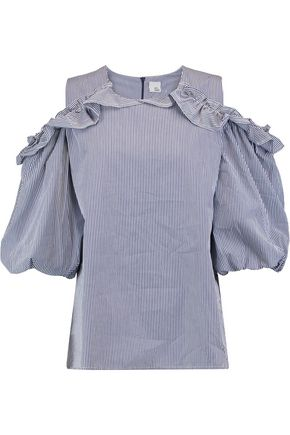 IRIS AND INK Shannon ruffled cold-shoulder striped cotton-poplin top