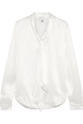 IRIS & INK Jennifer pussy-bow silk blouse