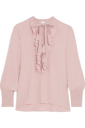 IRIS & INK Ruffled tie-front crepe de chine blouse