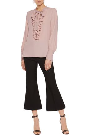 IRIS AND INK Pussy-bow and ruffle-trimmed crepe de chine blouse