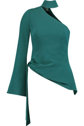 CINQ À SEPT Briah one-shoulder crepe top