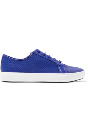 DKNY Tracie leather-trimmed mesh sneakers