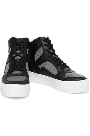 DKNY Bosley leather and stretch-knit high-top sneakers