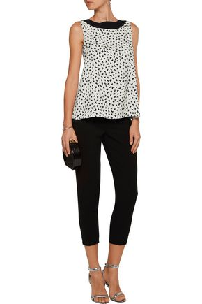 OSCAR DE LA RENTA Printed silk-blend top
