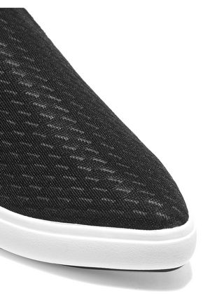 DKNY Trey leather and mesh slip-on sneakers